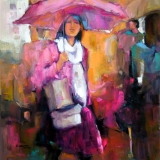 "Girl With the Pink Umbrella     19"" x 19"""